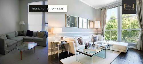 Before After Gloomy Living Room Gets An Airy Elegant Makeover