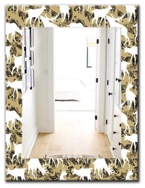 Designart Wild Animals Pattern Farmhouse Frameless Vanity Mirror Contemporary Bathroom Mirrors By Design Art Usa