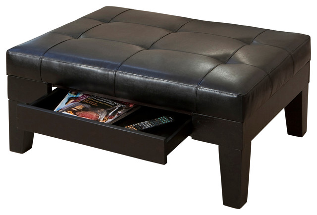 Tucson Leather Storage Ottoman Coffee Table Contemporary Footstools And Ottomans By Gdfstudio