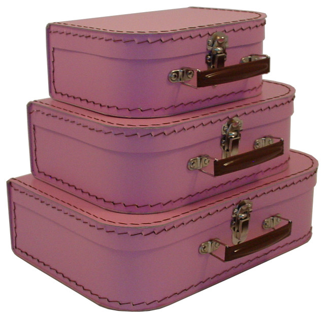 Cargo Traveler Mini Suitcases Set Of 3 Pink Blush Transitional Decorative Trunks
