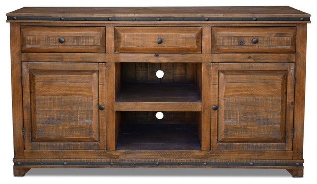 a72142d5ff2c Rustic Distressed Reclaimed Solid Wood Credenza TV Stand With 3 Drawers