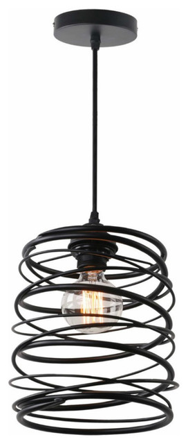 Antique Black Metal Spiral Shade Pendant Light With 1 Light, Painted Finish.