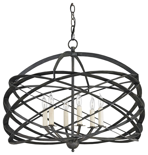 Currey company horatio black iron chandelier 9729 industrial currey company horatio black iron chandelier 9729 aloadofball Images