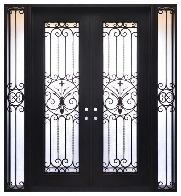 "Exterior Front Entry Iron Double Door, 114""x86"""