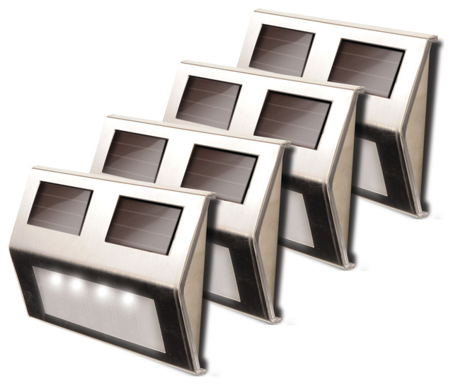 Metal Solar Deck Lights, Set of 4, Stainless Steel contemporary-deck- lighting