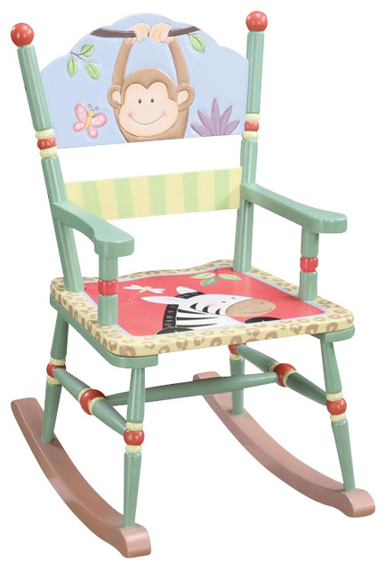 Teamson Kids Sunny Safari Hand Painted Rocking Chair Traditional Kids Chairs