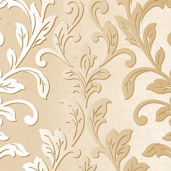 Textured Leaf Damask Wallpaper Mediterranean Wallpaper By