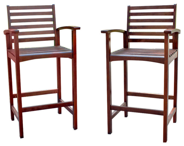 Set Of Two Highland Acacia Maine Bar Stool With Arms Brown