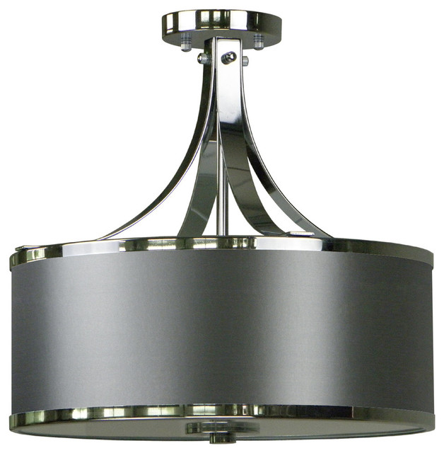 Lenny 3-Light Semi Flush, Gray/chrome.