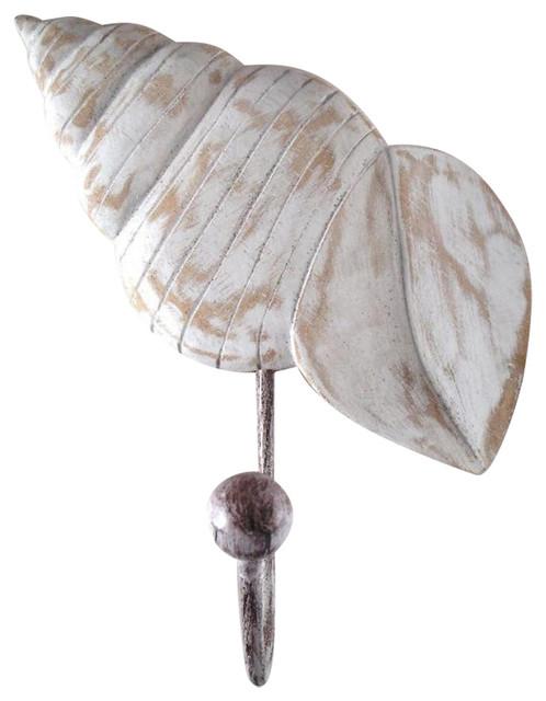 Tropical Ocean Beach Turban Seashell Wood Single Wall Hook.