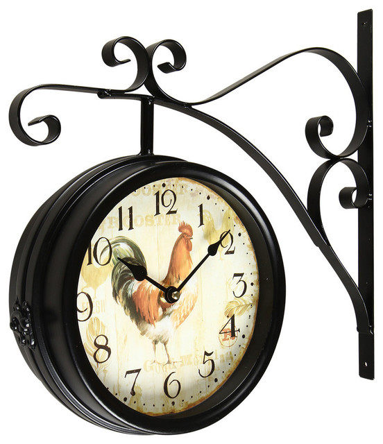 balck iron doublesided wall clock with scroll wall mount farmhouse