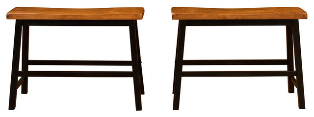 GDF Studio Toluca Saddle Wood Counter Dining Benches, Set of 2