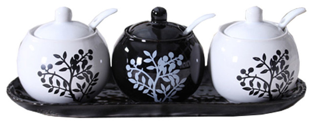 Set Of 3 Ceramic Spice Jar Seasoning Containers With Spoon Black And White Tree.