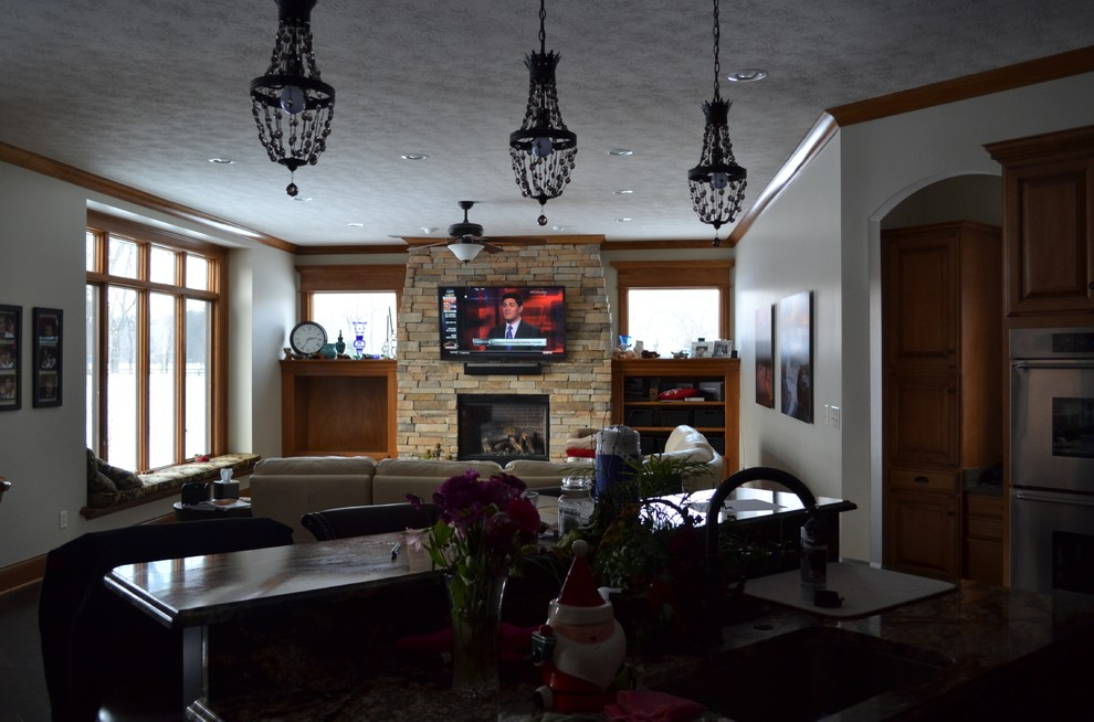 """Zionsville, IN - 63"""" TV Panel on Stone Fireplace"""