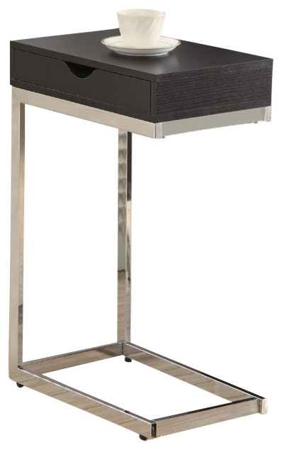 Accent Table - Cappuccino / Chrome Metal With A Drawer.