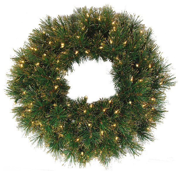 "24"" Pre-Lit Tattinger Long Needle Pine Artificial Christmas Wreath, Clear."
