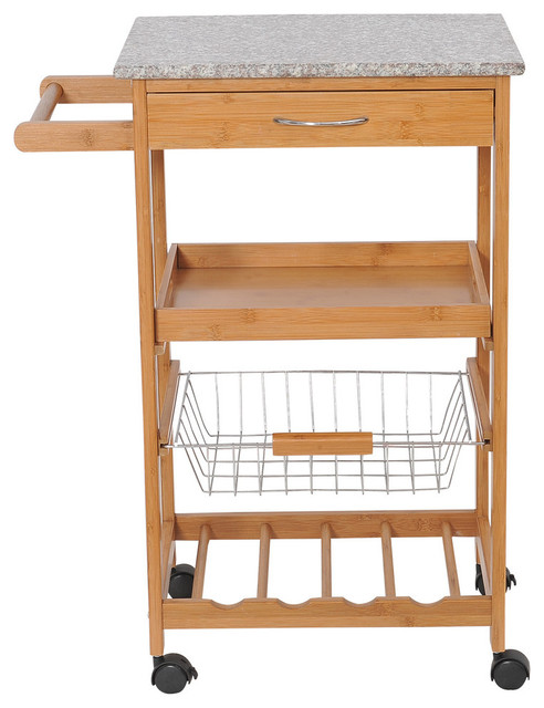 Homcom 31 Rolling Wooden Kitchen Trolley Cart With Wine Rack Granite Top