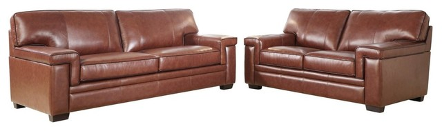 Abbyson Living Ronald Top 2-Piece Sofa and Loveseat Set, Brown