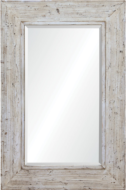 Renwil Lendrick Whitewashed Wood Framed Wall Mirror   Rustic   Wall Mirrors    By Renwil