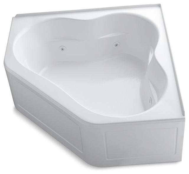 "Tercet Whirlpool Tub, Integral Flange, Heater And Center Drain, 60""x60"", White."