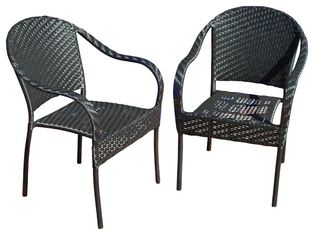 Livingston Outdoor Black Wicker Chairs, Set Of 2