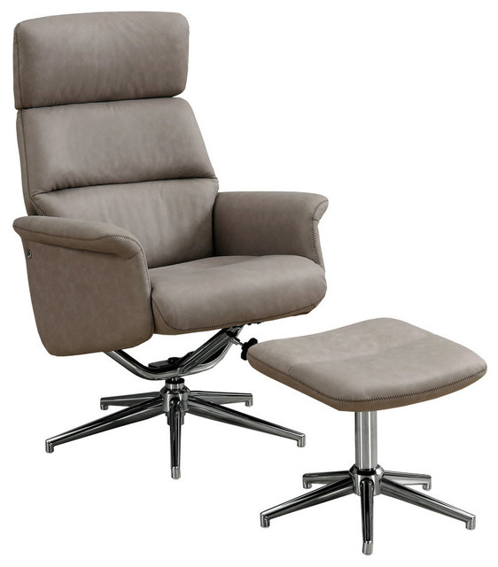 Swivel Recliner With Adjustable Headrest and Ottoman, 2-Piece Set