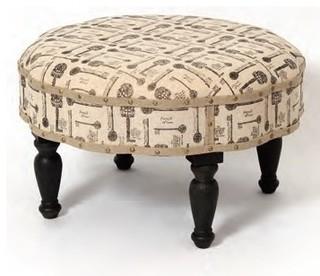 Roxann Key Fabric Print Round Ottoman Bench Contemporary