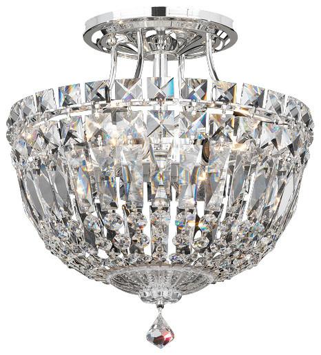 Schonbek Lighting 590040A Petit Crystal Deluxe Silver SemiFlush