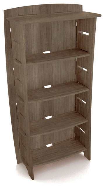 "Adjustable Four-Shelf Bookcase, 59""x31"", Gray Driftwood."