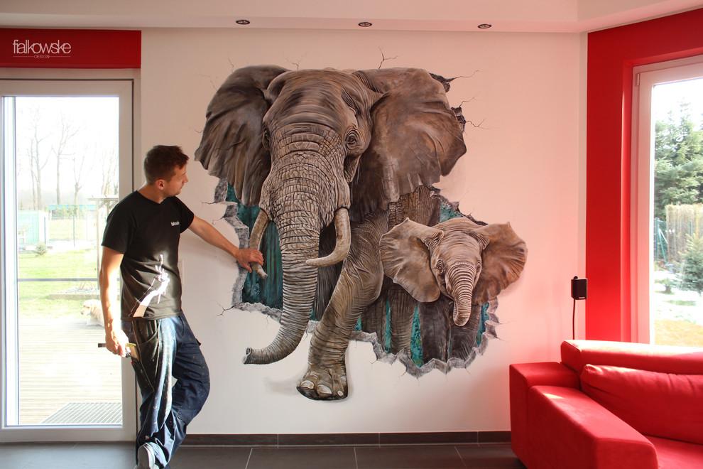 Elefanten Wandmalerei mit Mauerdurchbruch