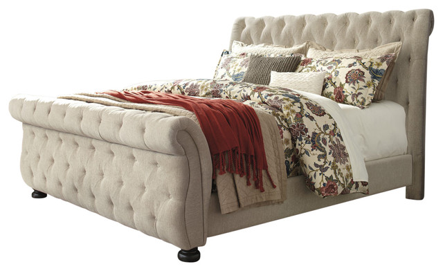 Willenburg King Upholstered Bed, Linen
