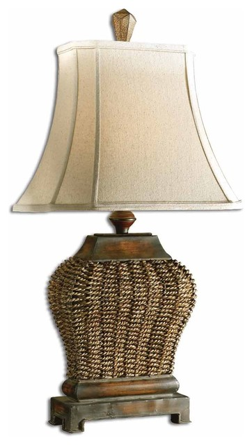 Uttermost Augustine 1-Light Mahogany Table Lamp.