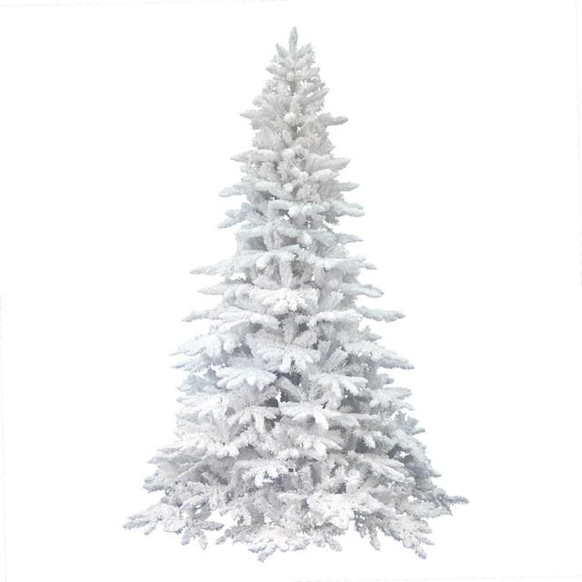 Contemporary Christmas Tree.Vickerman 7 5 Flocked White Spruce Artificial Christmas Tree Unlit