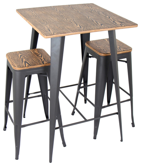 Oregon 3-Piece Industrial Pub Set - Industrial - Indoor Pub And ...