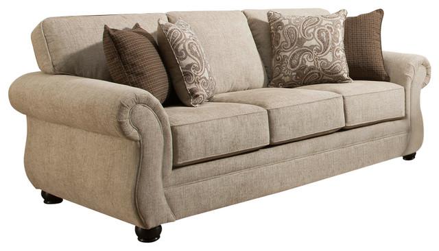 Simmons Upholstery Camden Parchment Queen Sleeper Sofa