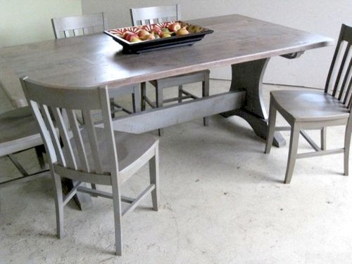 Driftwood Farm Table With Trestle Base Farmhouse Boston By - Farm table boston
