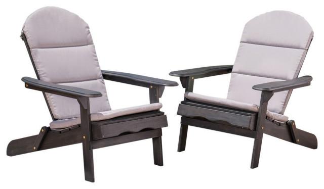 Outdoor Acacia Wood Folding Adirondack Chairs, Cushions, Set of 2, Dark Gray/Gra