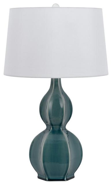 150w Murcia Ceramic Table Lamp, Slate Blue Finish, White Shade.