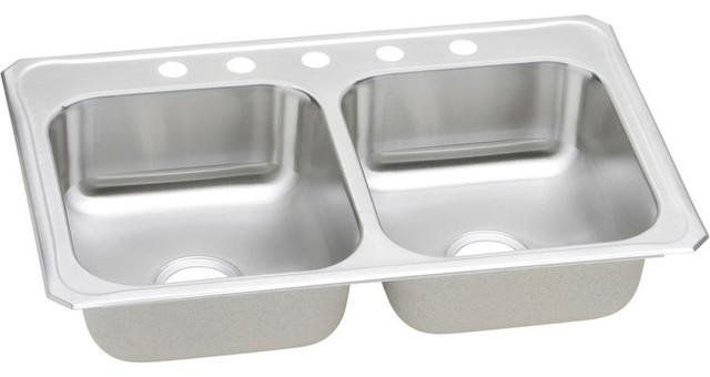 Elkay Cr33225 Gourmet Stainless Steel Double Bowl Sink.
