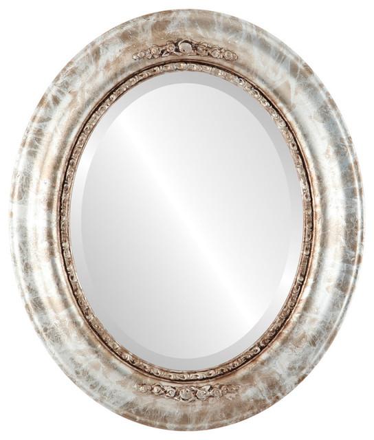 "Boston Framed Oval Mirror In Champagne Silver, 29""x35""."