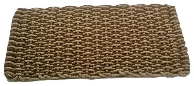 24x38 Texas Nautical Rope Doormat, Tan/brown Wave With Brown Insert.