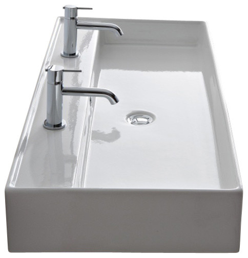 Rectangular Ceramic Wall-Mounted or Vessel Sink, White, No Hole, 47