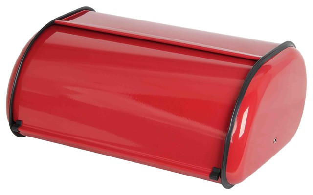 Home Basics Stainless Steel Bread Box, Red.