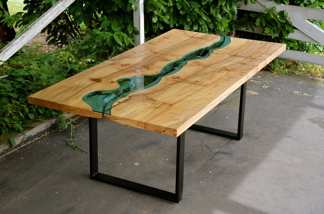 Glass Wood Dining Table With live edge wood dining table with glass river