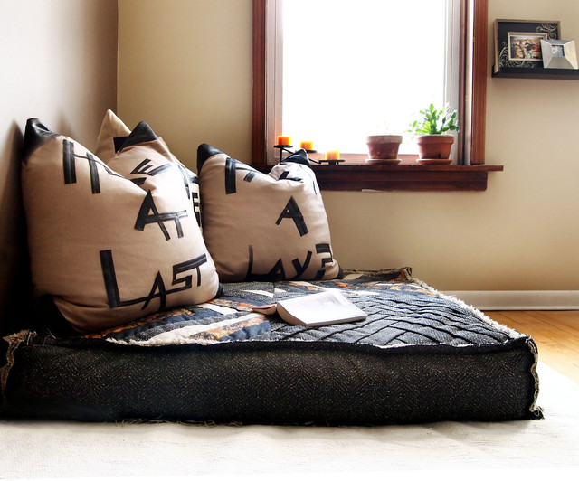 Custom organic buckwheat oversized floor cushion for Floor cushion seating ideas