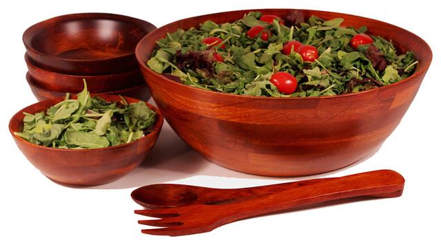 7 piece wood salad bowl set medium - Wooden Salad Bowl Set