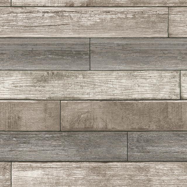 Reclaimed Wood Plank Natural Peel and Stick Wallpaper, Neutral, Swatch  modern-wallpaper - Shop Houzz NuWallpaper Reclaimed Wood Plank Natural Peel And