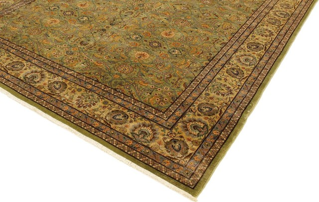 Turkish Knotted Melva Light Green/Gold Wool Rug, 9'3x12'3