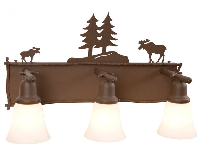 Rustic Bathroom Vanity Lighting moose glacier vanity 3-light fixture - rustic - bathroom vanity