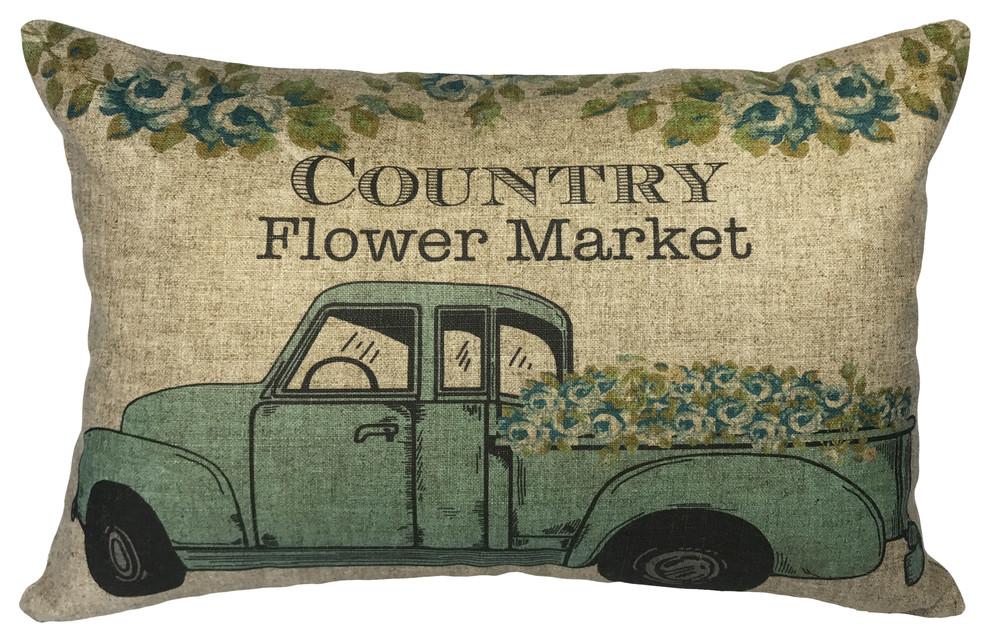 Country Flower Market Linen Pillow Farmhouse Decorative Pillows By Thewatsonshop